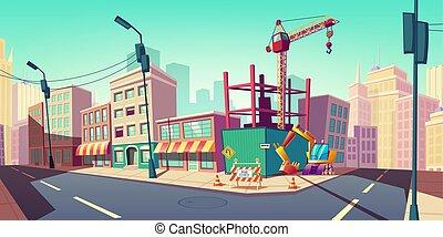 通り, 建物サイト, クレーン, 建設