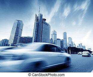 通り, 建物, そして, 自動車, 動きぼやけ
