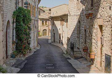 通り, 絵のよう, assisi, イタリア, 中世