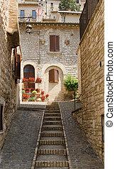 通り, 絵のよう, assisi, イタリア, 中世, 階段