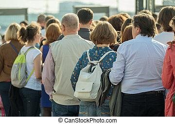 通り。, 群集, 人々