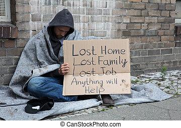 通り, 請求, 助け, ホームレスである, 人