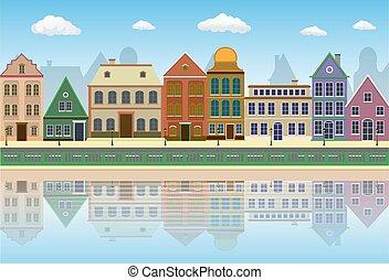 通り, 都市, 古い, 影, 風景, water.
