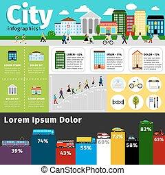 通り, 都市 生活, インフォメーション, elements., 都市, vectors, 建物, イラスト, 町, ベクトル, infographics, 輸送