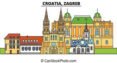 通り, 都市, croatia, 風景, パノラマ, 建物, landmarks., concept., strokes., editable, 隔離された, 平ら, シルエット, ベクトル, デザイン, イラスト, アイコン, 線, スカイライン, zagreb., 建築