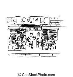 通り, 隔離された, イラスト, ベクトル, cafe., 白