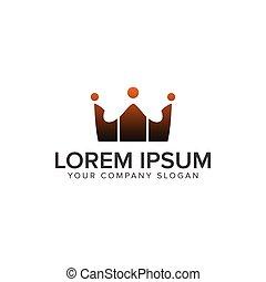 通信, 团体, 人们, logos., 王冠, 标识语, 设计, 概念, 样板