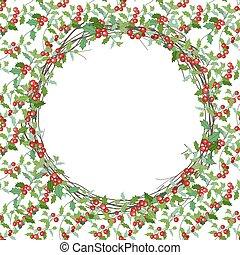 通告, 分支, 喜慶, 花冠, 邀請, 被隔离, 設計, white., holly, posters., 聖誕節, 輪, 明信片