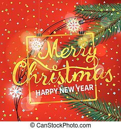 通告, 插圖, year., 矢量, 歡樂, 新, 黨, 聖誕節, 愉快