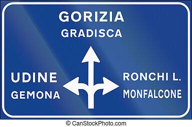 通知, 使われた, イタリア, -, 印, 都市でない, ポスト, 交差点, 道