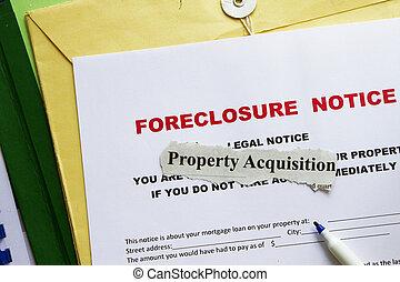通知, foreclosed