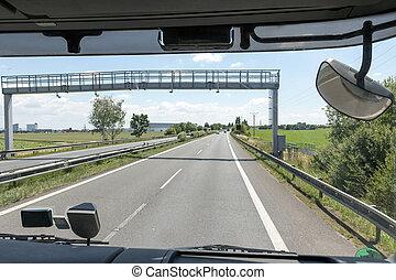 通行料, トラック, 門, タクシー, ハイウェー, 光景