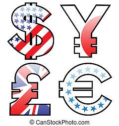 通貨, お金, セット, サイン