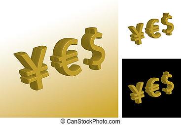 通貨, はい, 印