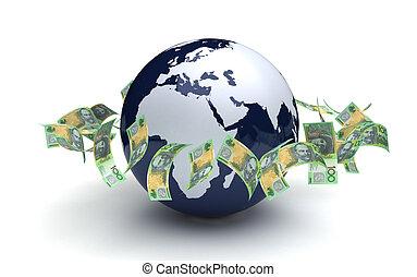 通貨, オーストラリア人, グローバルなビジネス