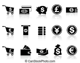 通貨, セット, 黒, アイコン
