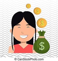 通貨, 女, お金 袋