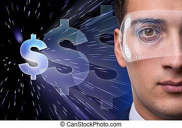 通貨, 未来, 取引, ビジネスマン