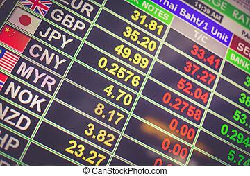 通貨, 板, 空港, ディスプレイ, タイ