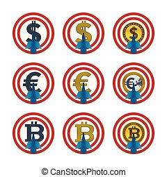 通貨, 矢, ターゲット, 板