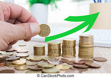 通貨, 節約, 成長, 経済, 手, 矢