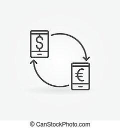 通貨, smartphone, 変換器, アイコン