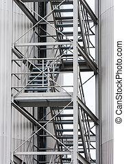 通過, 樓梯, 路線, 金屬, 外部, 逃跑