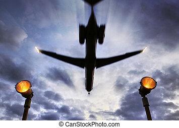 通過, 飛機, 在頂上