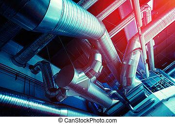 通風, 管子, 以及, 導管, ......的, 工業, 空氣, 條件
