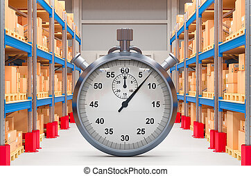 速い, ストップウォッチ, 3d, warehouse., レンダリング, 出産, concept.