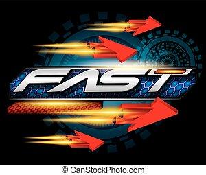 速い, スピード, 概念, ベクトル