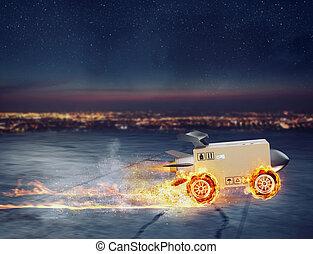 速い, ロケット, 車輪, 箱, 出産, パッケージ, 火事好みなさい