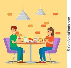 速い, 人, 食物, カフェテリア, 恋人, 女, 食べなさい