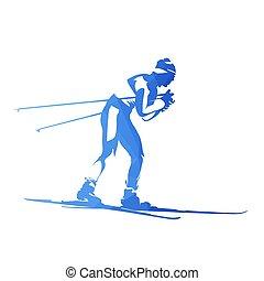 速度滑雪, 摘要, 幾何學, 矢量, 黑色半面畫像