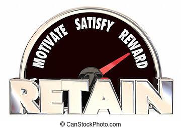 速度計, 顧客, 保留, 保ちなさい, イラスト, 従業員, 3d