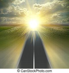 速度, 在上方, 天空領域, 方式, 卷心菜, 好, asfalt, 路