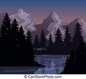 造園設計, ベクトル, 松の木, 山, 湖