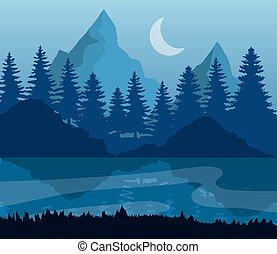 造園設計, ベクトル, 背景, 松の木, 月, 山, 湖, 青