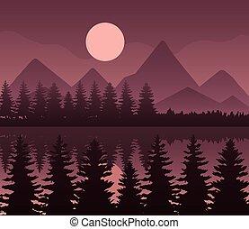 造園設計, ベクトル, 背景, 松の木, 月, 茶色の山地, 湖