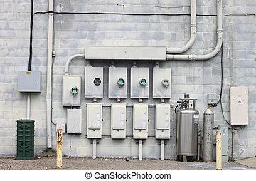 連合, 分配, 電話, 壁, 力, 作動させなさい, 電気である, 彼ら, ビジネス, 背中, 大きい, ガス, of., システム, 離れて, ケーブル
