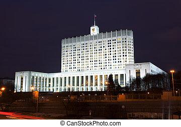 連合, 政府, 家, モスクワ, 夜, ロシア人