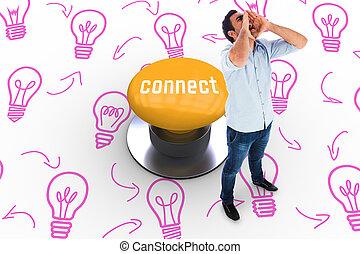 連結しなさい, に対して, 黄色, 押しボタン