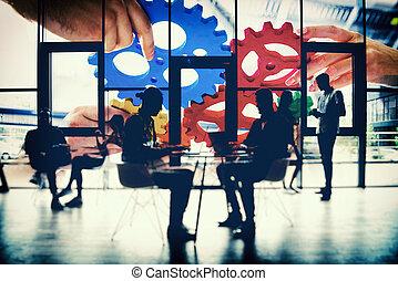 連結しなさい, concept., ライト, 効果, gears., 協力, チームワーク, さらされること, チーム, 統合, ビジネス, ダブル, 小片