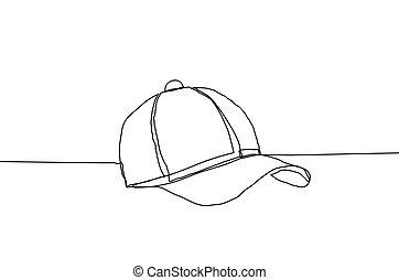 連續, 帽子, 線, 插圖, style., 背景。, 矢量, 棒球, 白色, 圖畫