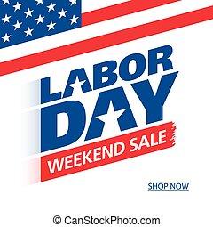 週末, セール, 労働, 広告, 旗, 日