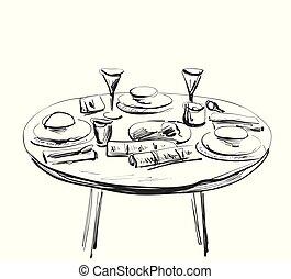 週末, 朝食, 夕食。, ∥あるいは∥, set., テーブルの 設定