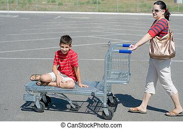 週末, 行く ショッピング, 家族