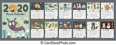 週, かわいい, 12, インチ, printable, 始める, 月, イラスト, animals., year., 立案者, ベクトル, 森林, 日曜日, 2020, カレンダー, 8, size.