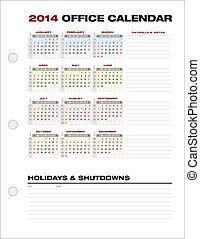 週, オフィス, ベクトル, 数, きれいにしなさい, 2014, カレンダー, 企業である