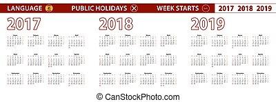 週, ベクトル, 始める, 年, 言語, 2017, 2019, sunday., スペイン語, 2018, カレンダー